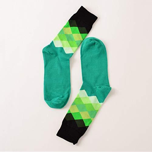 LEIHALA Treillis Drôle Heureux Chaussettes sous-Gradient Femmes Pur Coton Longs Sokken Stripe Coton