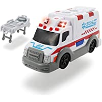 Dickie-Ambulancia Action Series 15cm 3302004 (+3 años) Vehículo de Juguete con función, Color Blanco