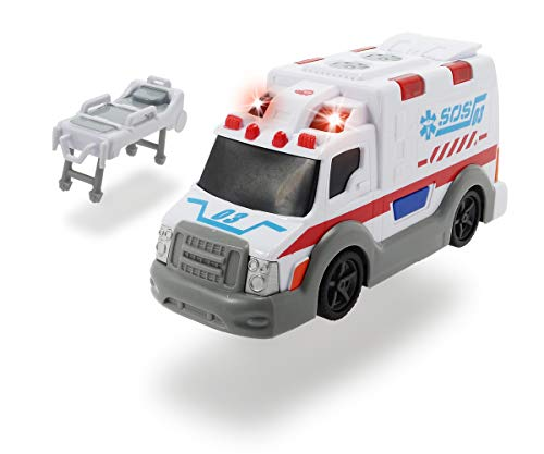 Dickie Toys Krankenwagen, Rettungswagen, Spielzeugauto mit Trage, Heckklappe zum Öffnen, Licht & Sound, inkl. Batterien, 15 cm, ab 3 Jahren