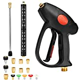 7000 psi pressure washer - LEDMO Pressure Washer Gun with Extension Wand for Garden Car Washing Cleaning, M22-14/15mm Fitting 5 Nozzle Tips 10 adapters 4000-7000 PSI