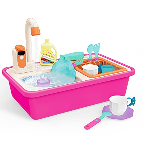 Kids Play Sink with Running Water, Latest Upgraded Real Waterproof Faucet and Color Changing Accessories, House Pretend Role Play Dishwasher Kitchen Sink Toys for Toddlers Girls