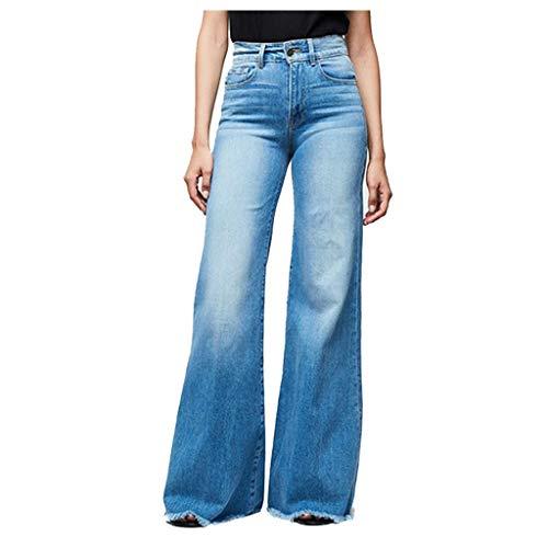 Damen Jeanshose hoch taillierte Jeans mit weitem Bein Stretch Slim Pants Length Jeans