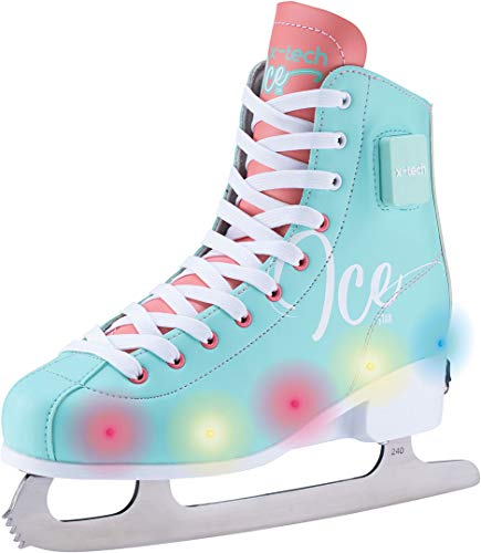 X-TECH Ice Princess LED Schlittschuh stufenlos größenverstellbar mitwachsend Blinklichter (LightGreen/Coral/White, 31-34)
