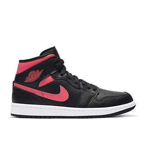 Nike Wmns Air Jordan 1 Mid, Zapatillas de bsquetbol Mujer, Black Siren Red White, 38.5 EU