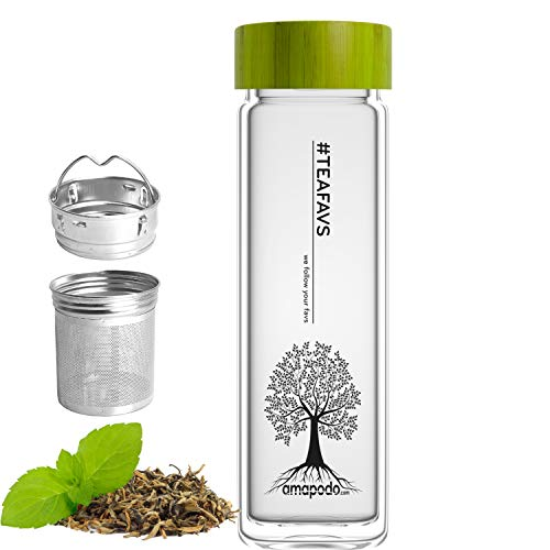 amapodo Teeflasche aus Glas mit Edelstahl Sieb - Tee Flasche 400ml - Teekanne to go - Trinkflasche doppelwandig mit Bambus Deckel Grün