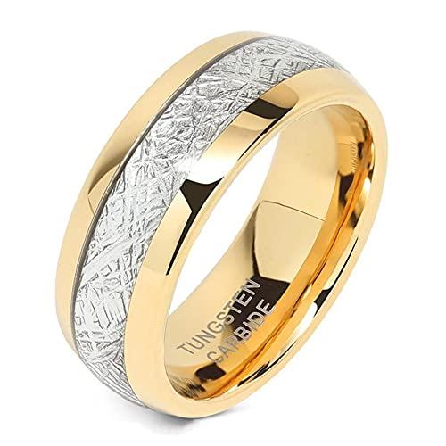 Anillo de carburo de tungsteno de Color dorado plateado para hombre de 8mm, bandas de boda de meteorito con incrustaciones para mujer, regalos de joyería, 10 de oro