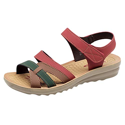 DressLksnf Sandalias Mujer Verano 2019 Sandalias Planas Sandalias de Vestir Playa Zapatos Sandalias de Punta Abierta Roma Casual Sandalias Fiesta Cómodo Zapatos Tacón Alto