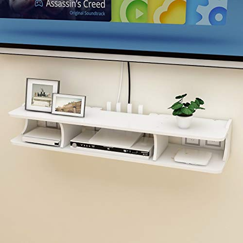 HAMIMI Wall Frame TV Cabinet TV Rack Set-top Box Shelf TV Console Storage Unit Storage Rack Cable Box White Floating TV Cabinet