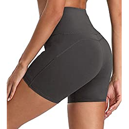 ACTINPUT High Waist Yoga Shorts for Women Workout Running Shorts Tummy Control Cycling Shorts Summer Hot Pants with Pockets