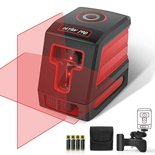 DETLEV PRO Self-Leveling Laser Level 50 Feet Cross Line Laser Switchable Horizontal, Vertical level 3 Mode Include Rotatable 360 Degree Flexible Mount Base and Carrying Pouch