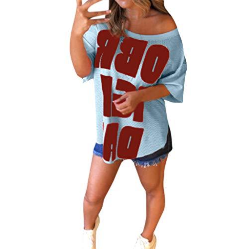 TWIFER Damen Beiläufige Sommer T Sshirt O Hals Übergröße Print Kurzarm Bluse Shirts Tops