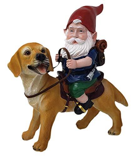 Funny Guy Mugs Gnome and a Yellow Lab Statue- Yellow Labrador Retriever- Indoor/Outdoor Garden Gnome...