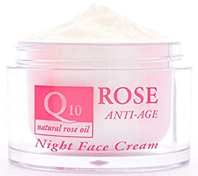 Anti-wrinkle Night Face Cream with Coenzyme Q10, 45+, Natural Rose Oil, Vitamin E and Vegetable Glycerin, Power Anti Aging, Nourishing, No Parabens, No Preservatives, 50ml. by Aroma Essence from Aroma Essence
