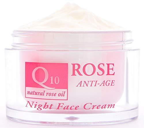 Anti-Age Nacht Gesichtscreme mit natürliches Rosenöl, Q10 und Vitamin E, Antifaltencreme für trockener und sensibler Haut, feuchtigkeits Nachtpflege für jüngere Gesichtshaut 50ml