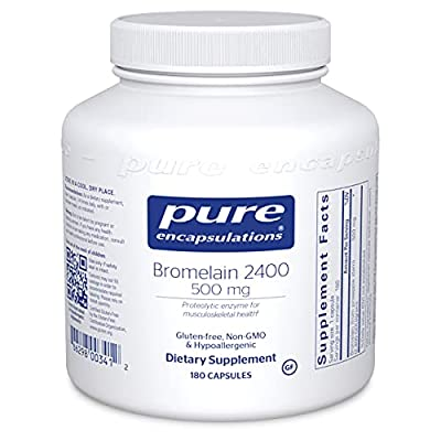 Pure Encapsulations - Bromelain 2400-500 mg Proteolytic Enzyme for Musculoskeletal Health - 180 Capsules