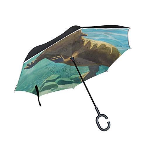 DEZIRO Grappige Dier Leuke Vet Bever Zwemmen Omgekeerde vouwparaplu Dubbele Laag Omgekeerde Paraplu's UV Bescherming Paraplu voor Auto, Regen Outdoor Met C-Shaped Handvat Winddicht