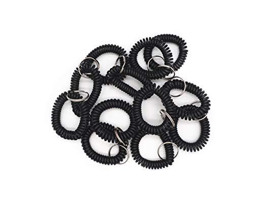Bracelet porte-clés en plastique bobine extensible avec anneau inclus 20 Noir