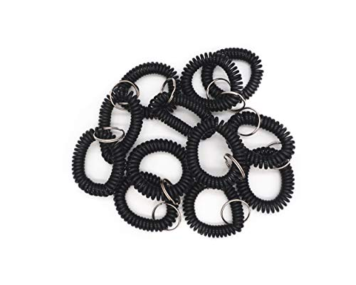 Llavero de plástico de la correa de la muñeca de la bobina del anillo elástico de la pulsera de la primavera llavero titular del llavero - negro 20 piezas
