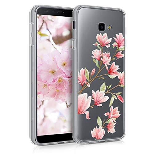 kwmobile Hülle kompatibel mit Samsung Galaxy J4+ / J4 Plus DUOS - Handyhülle - Handy Hülle Magnolien Rosa Weiß Transparent
