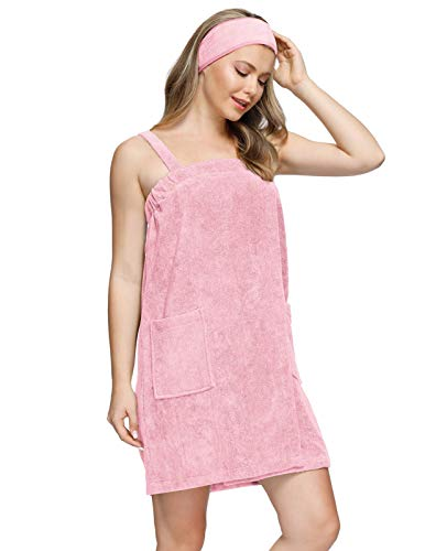 Zexxxy Bath Wraps for Women Terry Cloth with Pockets Shower Towel Wrap Sets Pink S