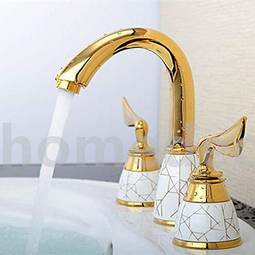 Badkamer keukenkraan waterkraan keuken waterkraan antieke badkamer in Europese stijl, koperkleurige, gouden hete en koude wastafel, dubbele handgreep, driegaats wastafelkraan