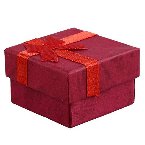 Homeilteds 24 PC-Ring-Ohrring-Schmucksache-Anzeigen-Geschenk-Kästen 10 Farbiges Papier Bowknot Platz Tragetasche Porta Presents (Color : Red)