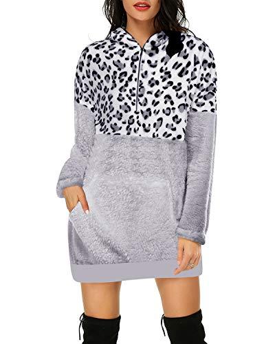 Auxo Damen Hoodies Kleider mit Kapuze Sweatshirts Langarm Pullover Oversized Leopard Jumper Hellgrau Small