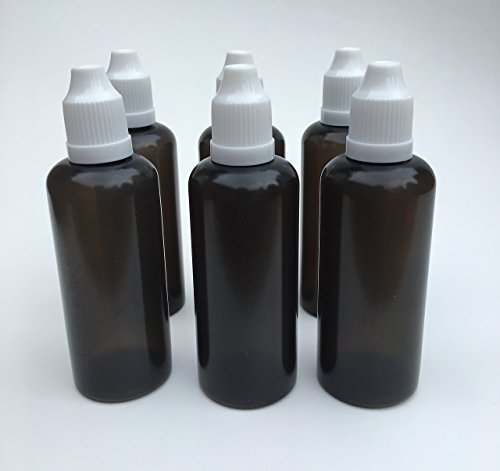 U-Need-A-Bottle (6) Pack 2 oz Dark Black Plastic Bottle - 60 ml - BPA Free - LDPE PE - Easy Squeeze Liquid Dropper Tip - Small Empty Round, Best for Tincture E Cig & Juice w/Childproof Cap (White)