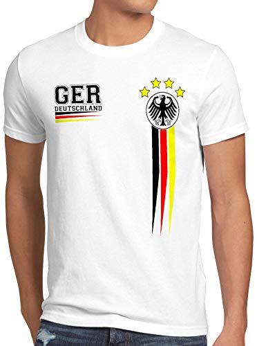 style3 Deutschland Herren T-Shirt EM 2020 Germany Fußball Europameisterschaft Trikot, Farbe:Weiß, Größe:4XL