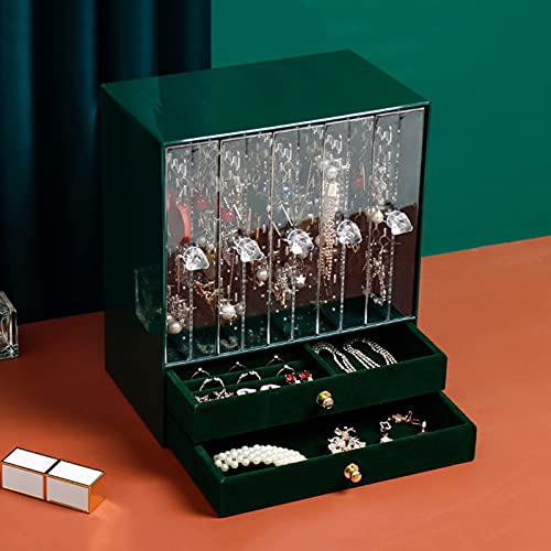 QIXIAOCYB Caja de joyería transparente, caja de almacenamiento de joyas, soporte de pantalla de pendiente con compartimiento extraíble, cajón de tela de flocado, resistente al polvo, regalo para mujer