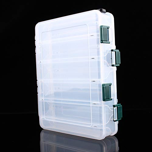 Tackle Box - 12 Compartments Tackle Plastic Storage Box Fishing Case Lure Box Tackle Two-Sided Storage Case