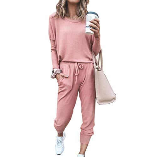 Godoboo Damen Trainingsanzug Hausanzug Kuschel Jogginganzug Sportliche Hose mit Kordelzug und Taschen 2 Stück Set Sport Yoga Outfit