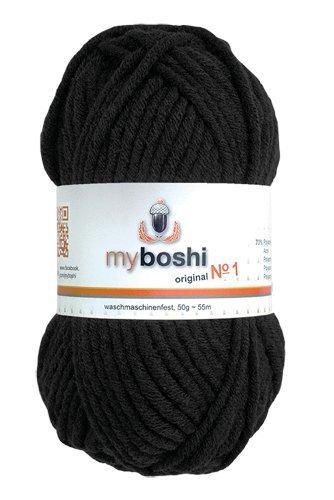 myboshi 5 x Wolle Fb196 schwarz 50g, ca. 55 m/Knäuel