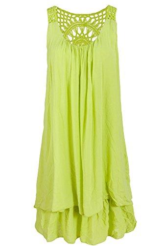 Italienische Mode Sommerkleid mit Spitze am Rücken Tunikakleid Knielang Lindgrün 38+40