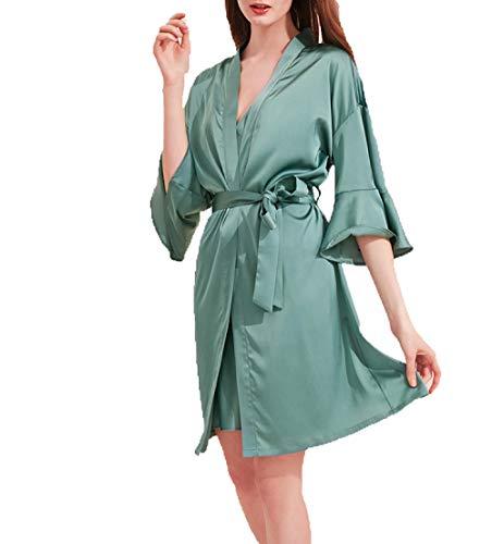Frühling Und Sommer Dünne Seide Lange Krawatte Spitze Bademantel Robe Damen Sexy Morgen Robe Home Service Pyjamas-Einheitsgröße_Kornblumenblaues Nachthemd
