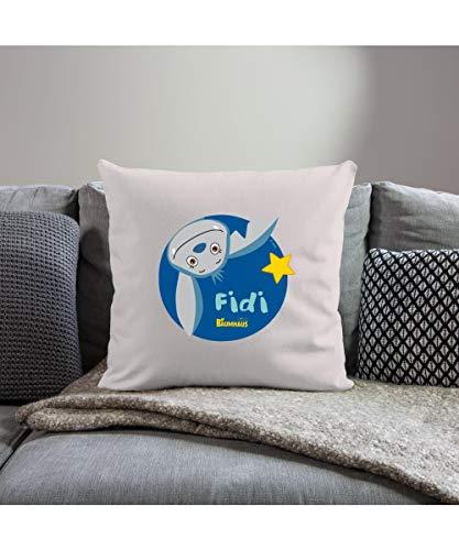 Spreadshirt KiKA-Baumhaus mit Fidi Logo Sofakissenbezug 44 x 44 cm, helles Taupe