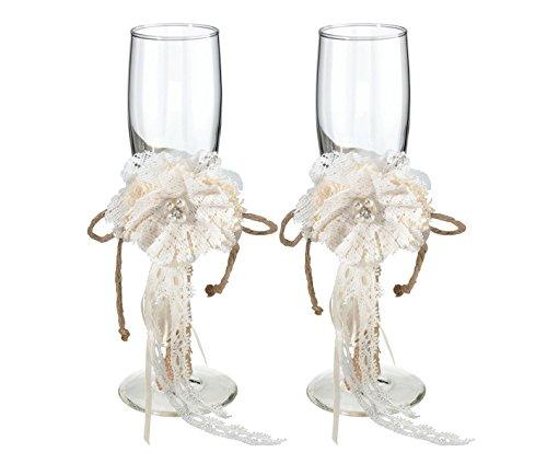 Lillian Rose Rustic Country Burlap Wedding Toasting Glasses