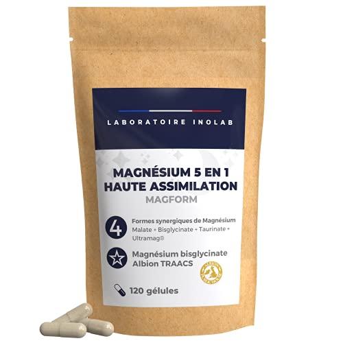 Magnesio 1700mg per dose + Vit B6 | Alta Biodisponibilità | 4 Mg complementari: bisglicinato chelato, malato, taurinato, liposomiale | Assimilazione superiore al Mg marino 120 capsule