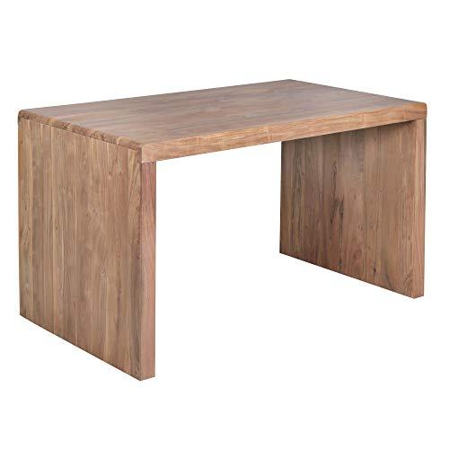 FineBuy Schreibtisch Massiv-Holz Akazie 160 cm Computertisch Echtholz Design Ablage Büro-Tisch Landhaus-Stil Natur-Produkt Büro-Möbel dunkel-braun Modern Büroeinrichtung rechteckig 76 cm hoch