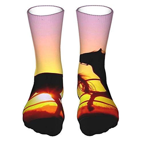 Dos caballos Sunset Corto Running Calcetines Atléticos Calcetines para Mujeres Deportes Hombres Medias