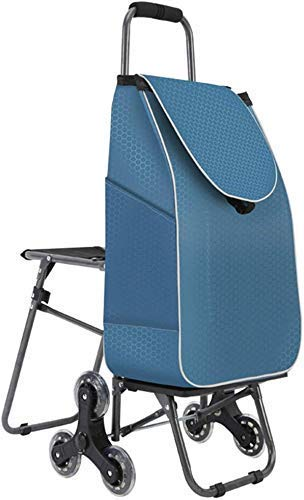 YGB Carrito de Compras multifunción Escaleras para Subir Carrito de Equipaje Plegable con sillas Portátil Plegable de un Segundo Almacenamiento fácil Camiones de Mano