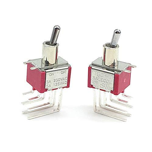 TUEWDFSA Interruptores de Palanca Interruptor de Palanca de Enganche en Miniatura T80-T en en 6 Pines DPDT 2 Posición 3A / 250V 5A / 125V 6MM T8012L Componente electrónico