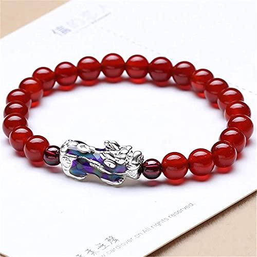 Feng Shui Pixiu Wealth Bracelet Red Agate Cornelian Amulet Pulsera Prosperity con 999 Pure Silver Change Color Pixiu/Piyao Attract Lucky Money Love Bangle Jade Gift para Mujeres/Hombres