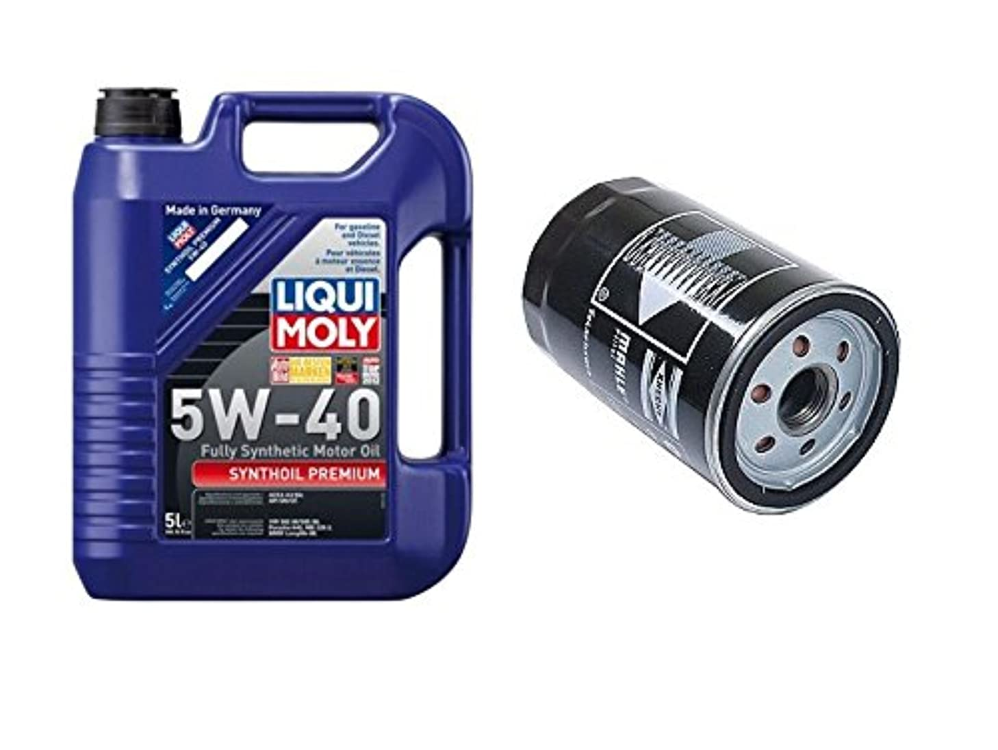 Liqui Moly 2041 Premium 5W-40 Synthetic Motor Oil - 5 Liter Jug + 1 Engine Oil Filter Mahle 06A115561BML / 06A115561B / OC264 Audi 90 100 200 A6 Volkswagen Beetle Cabrio Jetta S4 S6 TT