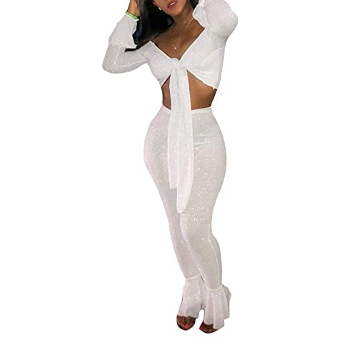 e363dd4976 Ophestin Women Off Shoulder Glitter See Through Long Flare Sleeve V Neck  Crop Top Pants Set