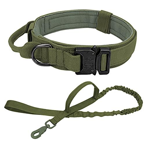 PET ARTIST Taktisches Hundehalsband und Bungee-Leine mit Doppelgriff - K9 Militär-Hundehalsband und Leinen-Set - Nylon-verstellbares Haustierhalsband für mittleres und großes Hundetraining