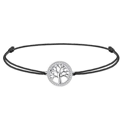 J.Endéar Fußkettchen lebensbaum Damen Mädchen Silber 925 mit Zirkonia, 37cm verstellbare Seil Fußkettchen Geschenk handmade