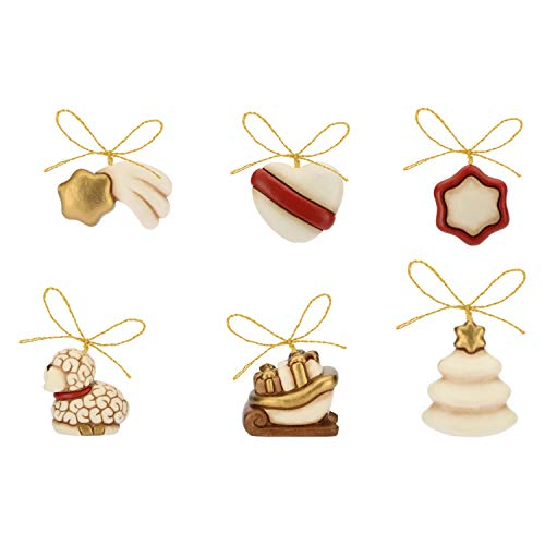 THUN ® - Albero di Natale in Legno con 6 Mini addobbi - Ceramica - h 41,5 cm - Linea I Classici