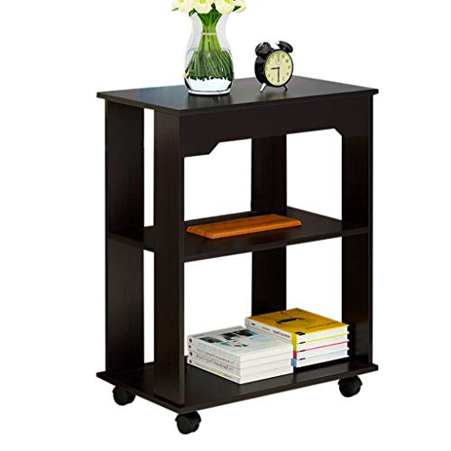 Auwish Narrow End Table | Mobile Sofa Side Tables with 4 Wheels Rolling Cart Bedroom Night Stand with 3-Tier Storage Shelf Modern Wood Coffee Table (Black)