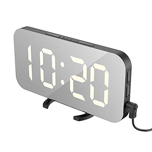 EXTSUD LED Mirror Alarm Clock, Portable LED Mirror Alarm Clocks,HD Digital Alarm Clock, Table Clock Travel Watch with Large Screen 12 / 24H display, USB port for Smartphone